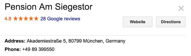 Pension Hotel Listing on Google