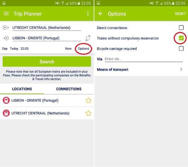 Avoiding reservations Eurail