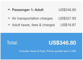 Listed Flight Price