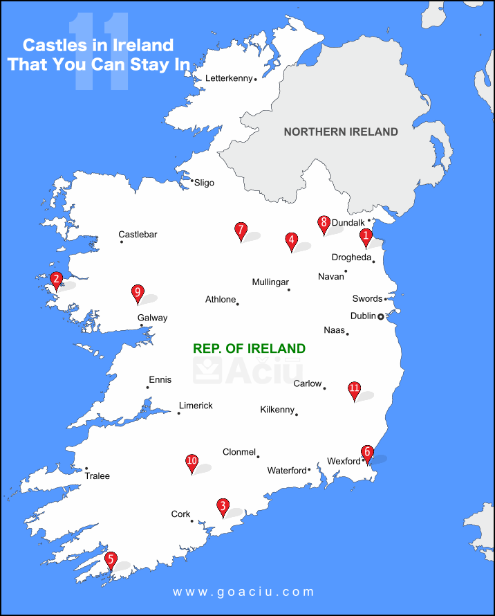 Map of Castles in Ireland