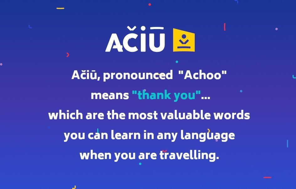 What Ačiū means in English