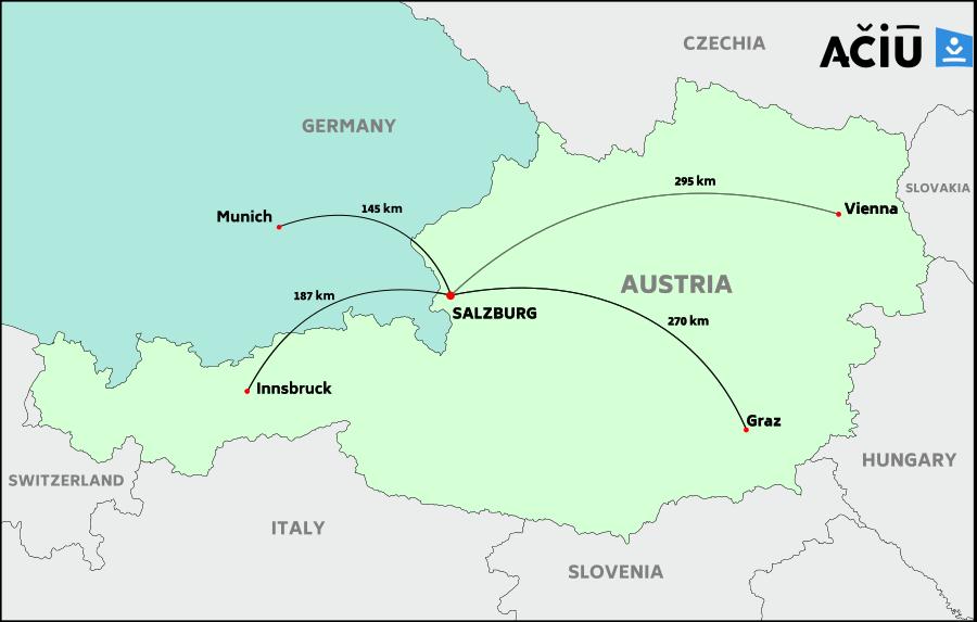 Distance to Salzburg