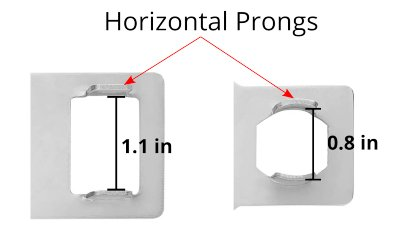 Horizontal Prongs on a portable door lock