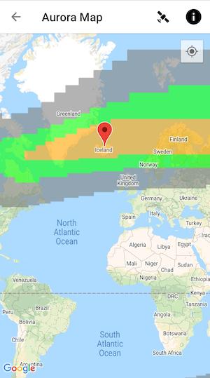 My Aurora Forecast App Map