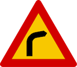 Blind curve to the right sign in Iceland