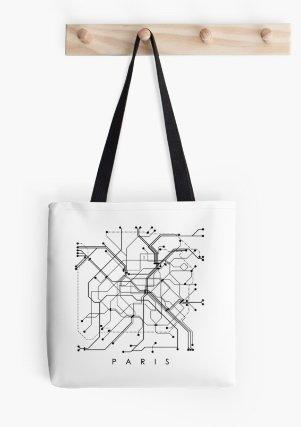 Paris Subway Map Tote Bag