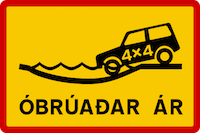 River crossing sign in Iceland
